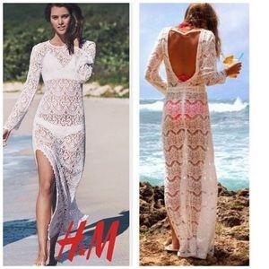 H&M Crochet Lace Open Back Cover up/ Maxi Dress